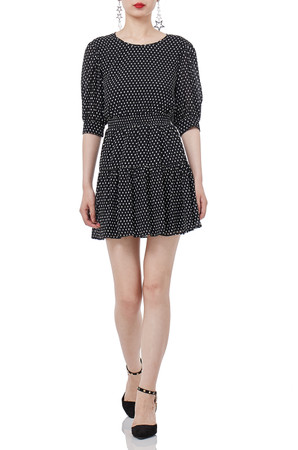 BIACK MINI SHORT SLEEVE POLKA DOTS ROUND DRESSES P1809-0177