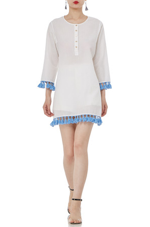 3/4 SLEEVE FRINGE COTTON DRESSES P1810-0094