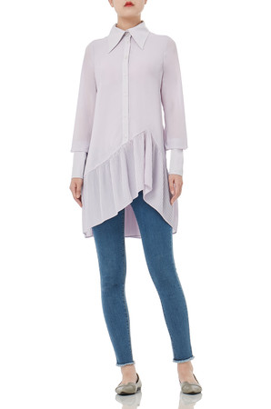 BUTTON DOWN WITH PLAIN CUFF AND ASYMETRICAL HEM TOPS P1801-0091