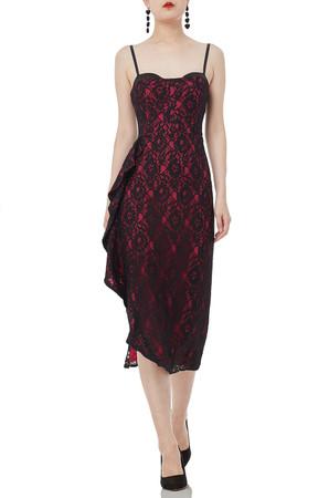 CAMISOLE WITH FALBALA MID-CALF LENGTH DRESSES P1807-0059