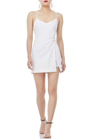CAMISOLE WITH SLIT ASIDE AND TWIST KNOT DRESSES P1902-0007-PW
