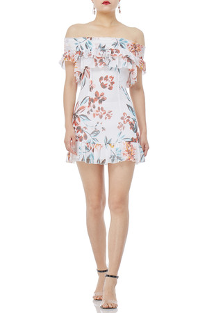 OFF THE SHOULDER WITH FALBALA DRESS P1711-0216-PF