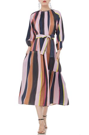 ROUND NECK MID CALF LENGTH DRESS P1707-0119-LS