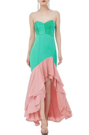 STRAPLESS WITH ASYMETRICAL HEM DRESS P1810-0042-PG