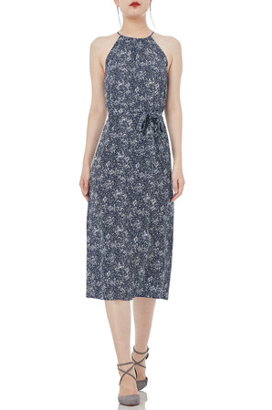 HIGH WAISTED  BELTED  MIDI LENGTH DRESSES P1901-0106-RN
