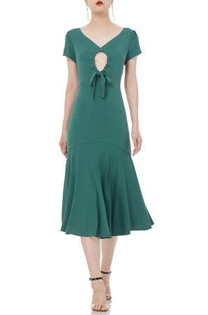 HEART SHAPED NECK A-LINE DRESS P1904-0129-RG