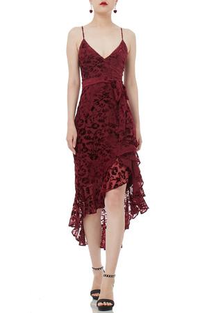 STRAP BELTED FALBALA MIDI LENGTH DRESSES P1807-0185