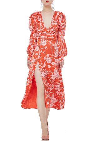 V-NECK MIDI LENGTH SLIT HIGH WAISTED DRESSES P1904-0025-PO