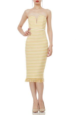 STRAPLESS FRINGE BELOW-THE-KNEE LENGTH DRESSES P1802-0162