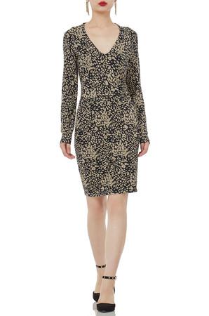 V-SHAPED CREW ABOVE-THE KNEE LENGTH DRESSES P1904-0001