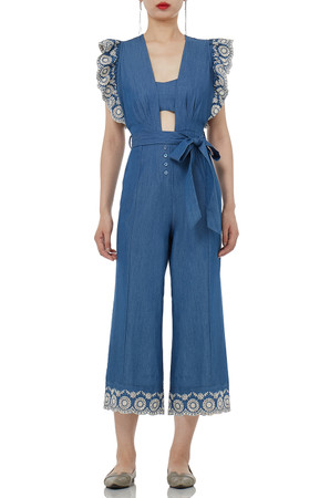 SQUARE SLEEVELESS CROPPED JUMPSUITS PS1706-0041