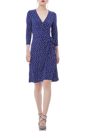 V-SHAPED CREW 3/4 SLEEVE KNEE LENGTH DRESSES P1810-0097