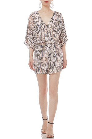 MINI LENGTH  SURPLICE 3/4 SLEEVE ROMPERS P1711-0042