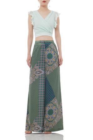 HIGH WAISTED MIXED COLOR FLOOR LONG PANTS P1806-0022