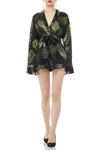 BELTED WITH SURPLICE NECK ROMPERS BAN1912-0527