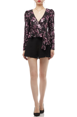 V-NECK PULLOVER WITH ASYMETRICAL HEM TOP BAN1909-0441
