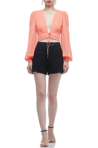 LACE UP FRONT CROP TOP BAN2003-0371