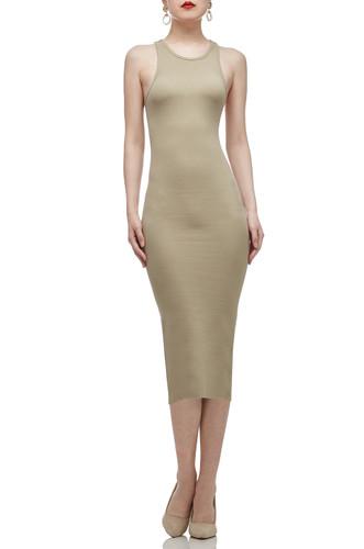 OVAL NECK MID-CALF TANK PENCIL DRESS BAN2012-0677