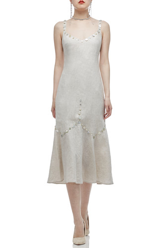 STRAP WITH BUTTON EMBLLISHED MID-CALF DRESS BAN2011-0471