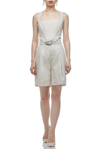 HIGH WAISTED BELTED ABOVE THE KNEE LENGTH SHORTS BAN2011-0344