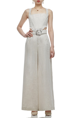 HIGH WAISTED BELTED FULL LENGTH PANTS BAN2011-0449
