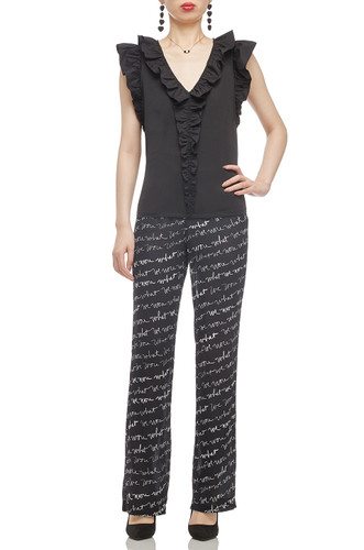 NORMAL WAISTED ANKLE LENGTH SEE THROUGH PANTS BAN2011-0215