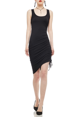 OVAL NECK WITH DRAWSTRING ON THE SIDE DRESS BAN2011-0111