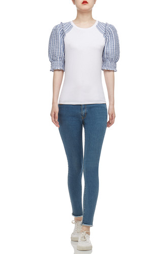 ROUND NECK WITH PUFF SLEEVE TEE TOP BAN2101-0445