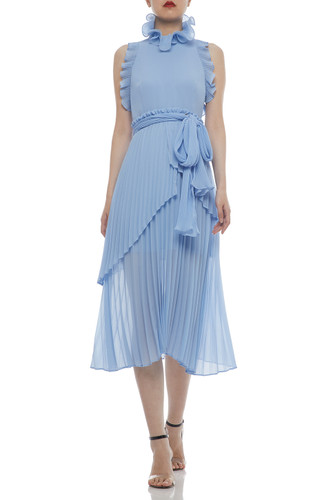 HIGH NECK BELTED AND PLEATED MID-CALF DRESS BAN2104-0681