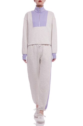 HAIGH NECK AND HALF ZIP UP WITH DRAWSTRING ON THE WAIST SWEATSHIRT BAN2105-0184