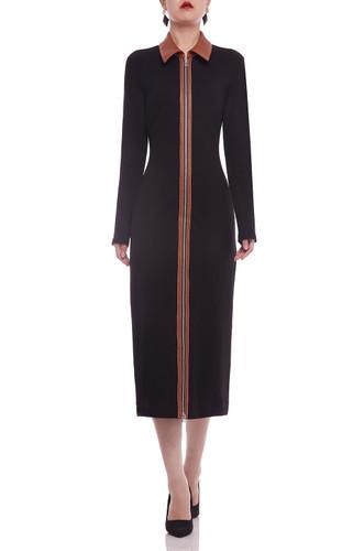 ZIP UP FRONT MID-CALF DRESS BAN2106-0075
