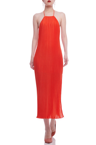 HALTER NECK BACKLESS WITH SLIT AISDE MID-CALF PLEATED DRESS BAN2105-0264