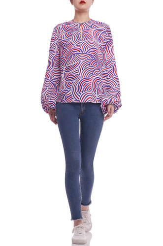 ROUND NECK WITH KEY HOLE FRONT AND BOUFFANT SLEEVE TOP BAN2104-1089