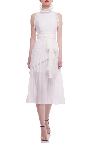 HIGH NECK BELTED WITH PLEATED HEM MID-CALF DRESS BAN2104-0662-W