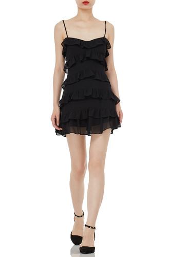 STRAP MINI LENGTH FALBALA DRESSES P1810-0071-PB