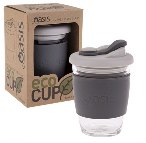 Eco Cup Glass Charcoal 340ml Oasis