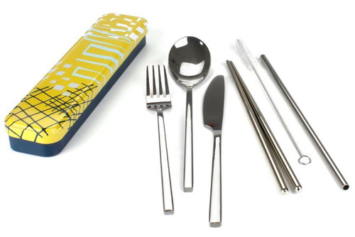 Cutlery Set 6 piece stainless in tin Abstract