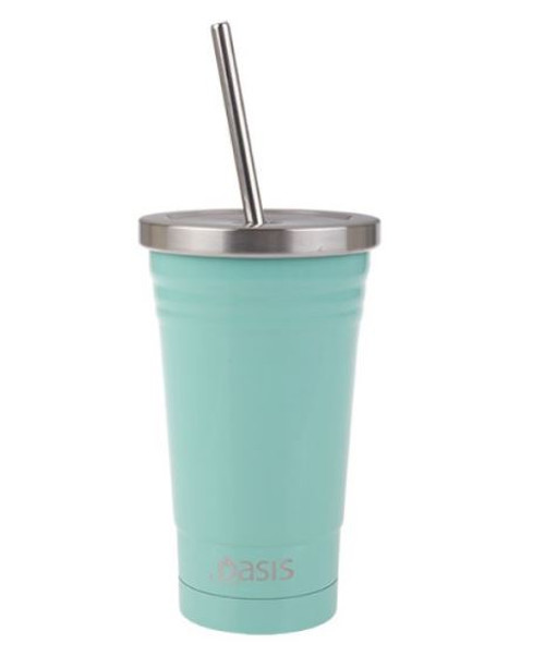 Smoothie Tumbler Spearmint 500ml S/S Ins with straw