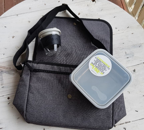 Lunch Bag, Travel Mug & Lunch Box Gift Pack with Free Beeswax Wrap Twin Pack