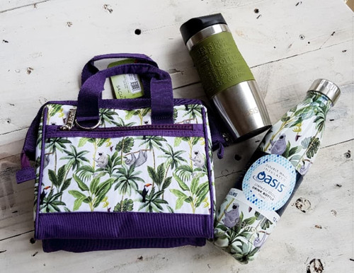 Drink Bottle, Travel Mug & insulted lunch bag Gift Pack with free beeswax wrap twin pack