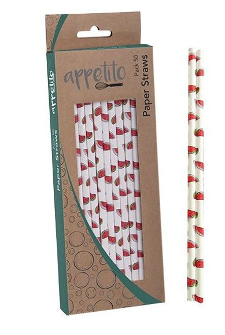 Paper Straws Watermelon Pack 50