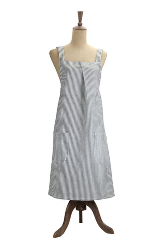 Abby Stripe Apron Olive Green