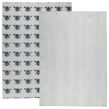Honey Bee Tea Towel 2 Pack Prussian Blue