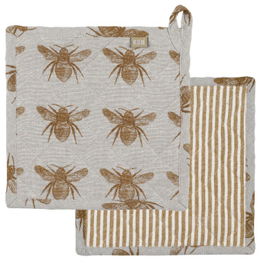 Honey Bee Potholder/Trivet Mustard