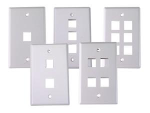 Dynacom 10600-P2-WH 2 Port Single Gang Wallplate (White)