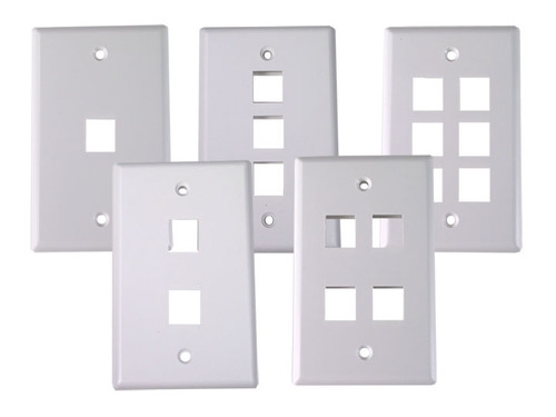 Dynacom 10600-P1-WH 1 Port Single Gang Wallplate (White)