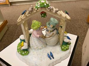 Lenox Winter White Wedding Snowman Sculpture By Lynn By Waters New in Box