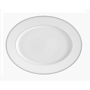 Lily of the Valley Blue Oval Platter By Monique Lhuillier Waterford