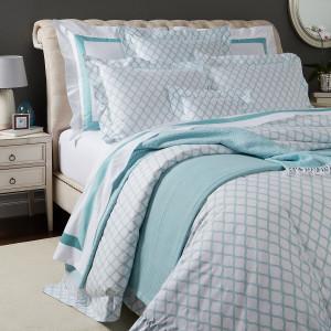 Sferra Andover Cotton Percale Full Queen Duvet Cover Set White Aqua