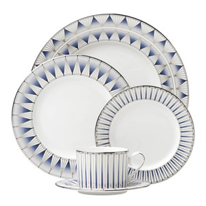 Lenox Geodesia Blue 5 Piece Dinnerware Set